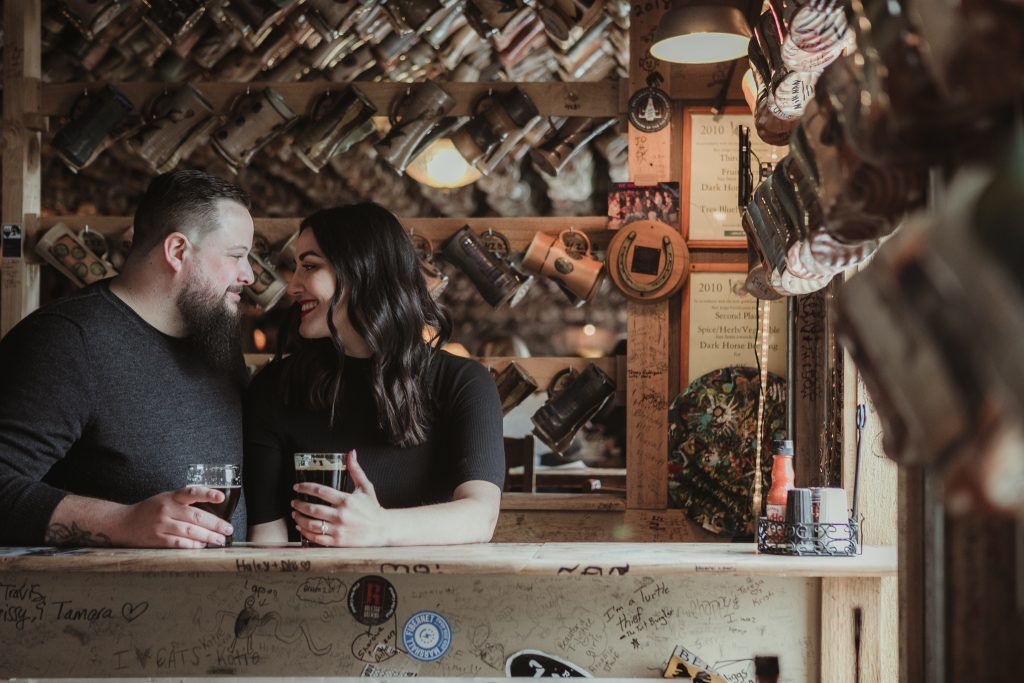 Alternative engagement session at Dark Horse Brewing Co in Marshall, MI