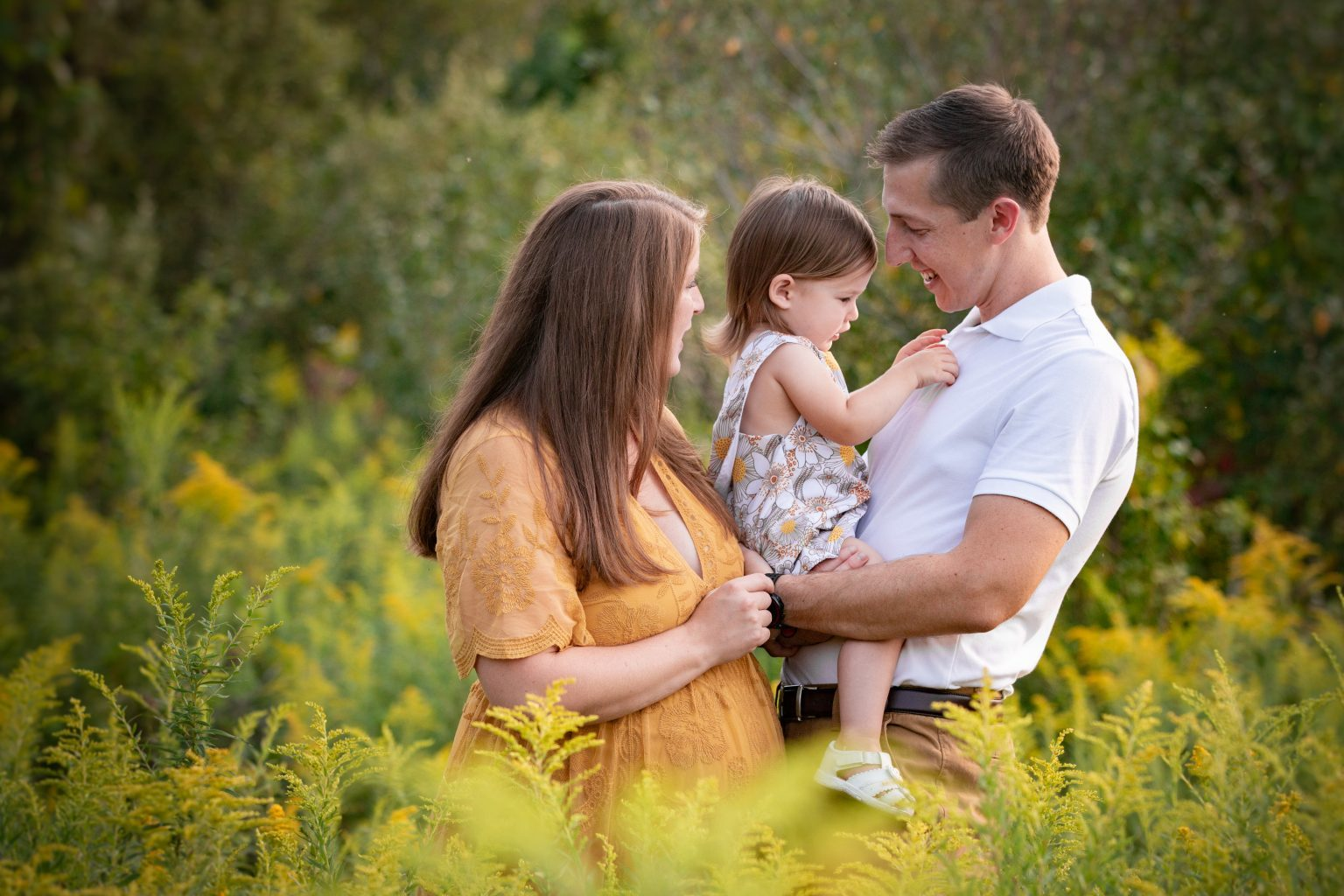 Beautiful family photo in a gorgeous late summer field.