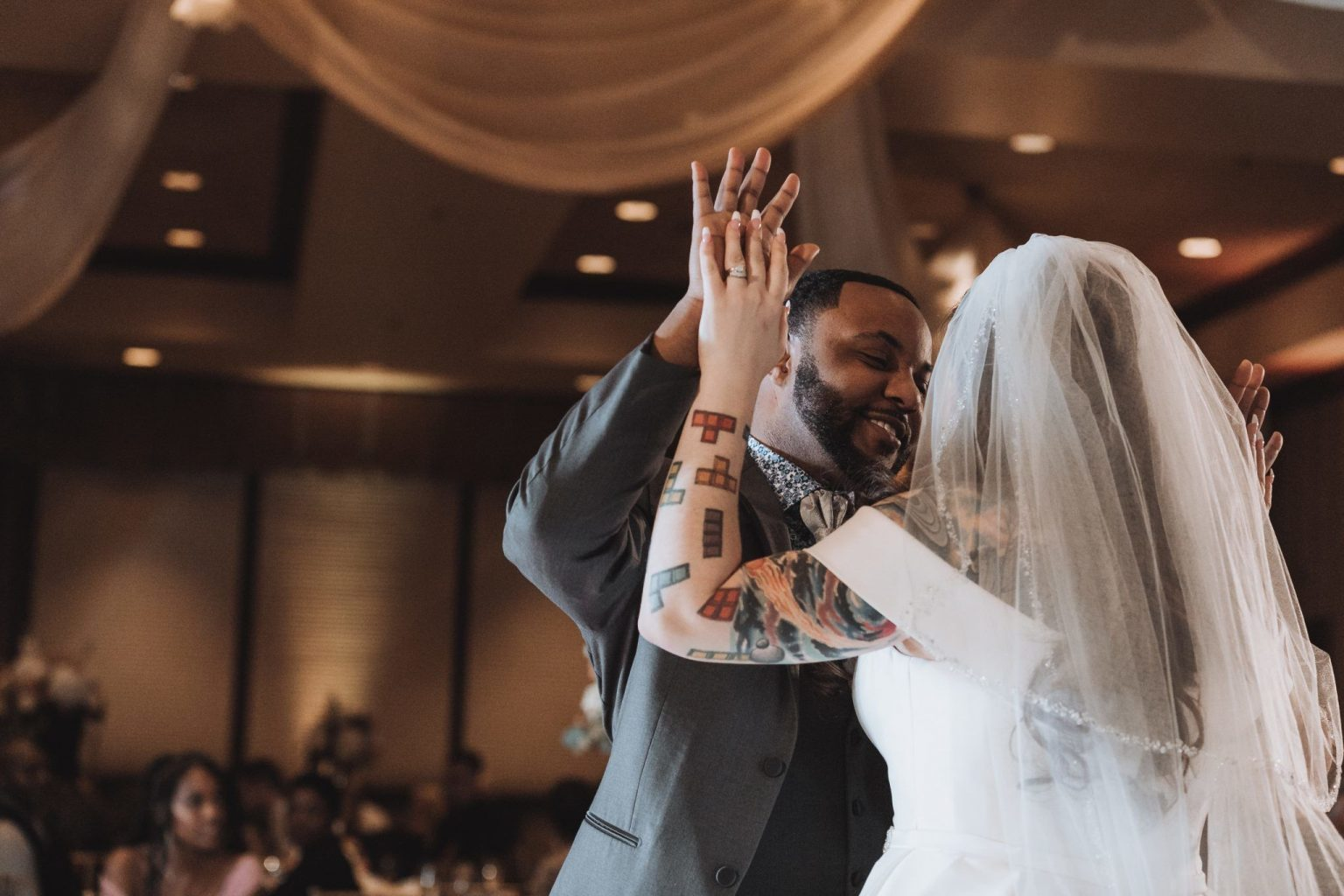 Bride and groom's first dance at Warwick Hills Golf Course wedding.